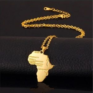 Other - New unisex 18K gold map necklace